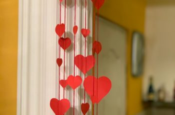 Paper heart chandelier for Valentine's day